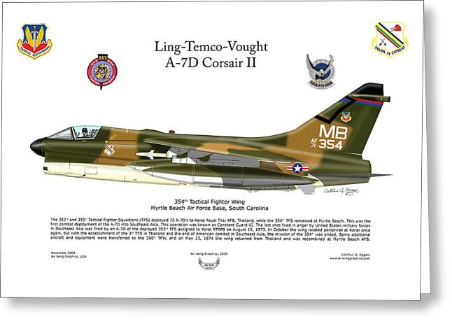 Squadron Graphics Greeting Cards - A7D Corsair II Greeting Card by Arthur Eggers