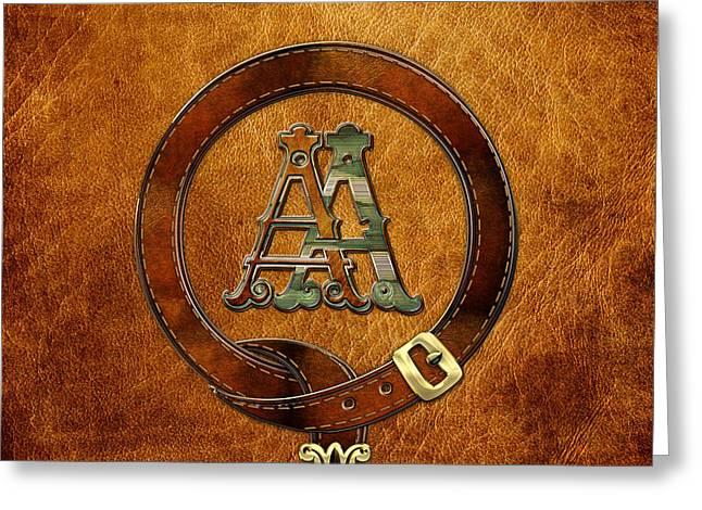 Cadeau Greeting Cards - AA Initials - Antique Brass Monogram on Light Brown Leather Greeting Card by Serge Averbukh