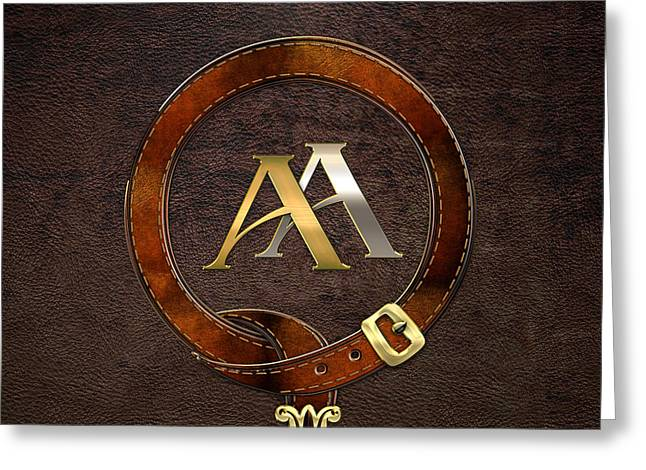 Cadeau Greeting Cards - AA Initials - Antique Brass-Silver Monogram on Brown Leather Greeting Card by Serge Averbukh
