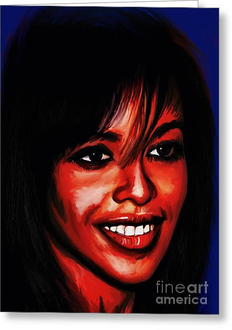 American ist Mixed Media Greeting Cards - Aaliyah  Greeting Card by Andrzej Szczerski