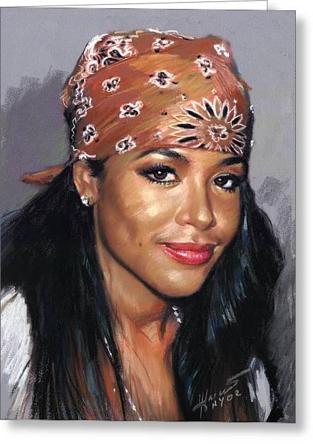 Recording Artists Greeting Cards - Aaliyah Greeting Card by Viola El