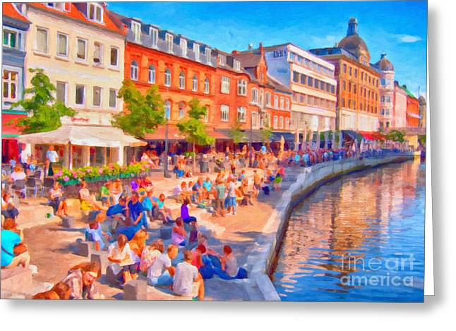 Aarhus Canal Digital Painting Greeting Card by Antony McAulay