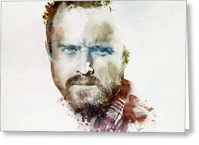 Sized Mixed Media Greeting Cards - Aaron Paul as Jesse Pinkman watercolor Greeting Card by Marian Voicu