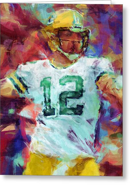 Packer Quarterback Greeting Cards - Aaron Rodgers Abstract Greeting Card by David G Paul