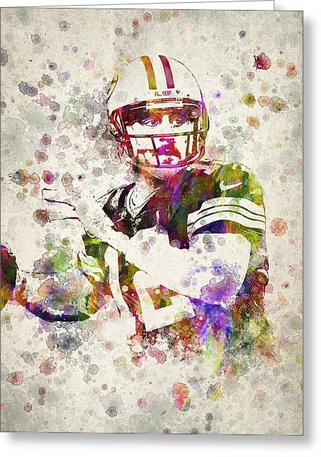 Aaron Rodgers Greeting Card by Aged Pixel