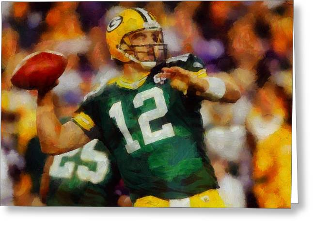 League Paintings Greeting Cards - Aaron Rodgers Greeting Card by Dan Sproul