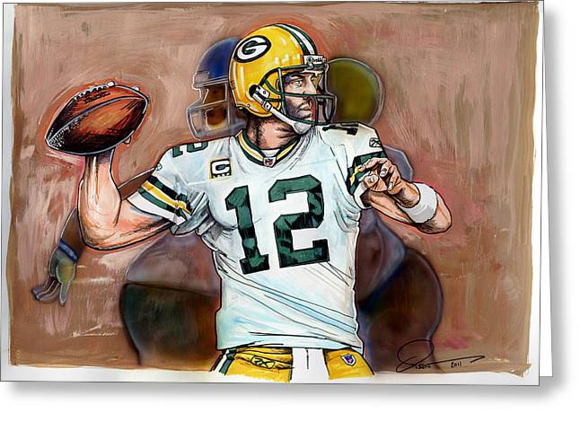 Aaron Rodgers Greeting Card by Dave Olsen