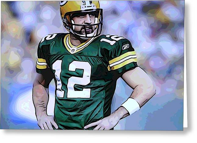 Offense Mixed Media Greeting Cards - Aaron Rodgers Green Bay Packers Greeting Card by Dan Sproul