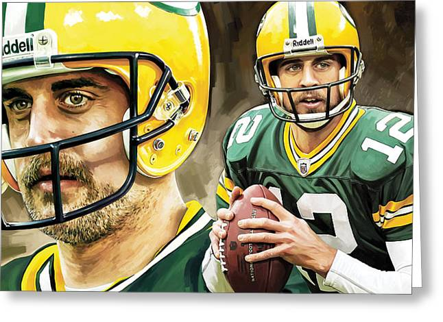 Nfl Mixed Media Greeting Cards - Aaron Rodgers Green Bay Packers Quarterback Artwork Greeting Card by Sheraz A