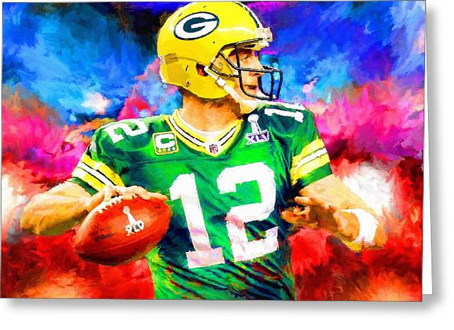 Recently Sold -  - Modern Digital Art Digital Art Greeting Cards - Aaron Rodgers Green Bay Packers Football Art Painting Greeting Card by Andres Ramos