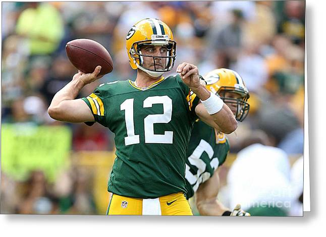 Football Greeting Cards - Aaron Rodgers Greeting Card by Marvin Blaine