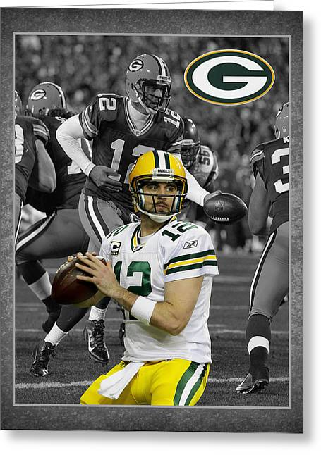 Footballs Greeting Cards - Aaron Rodgers Packers Greeting Card by Joe Hamilton