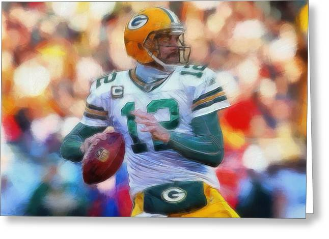 Valuable Greeting Cards - Aaron Rodgers Painting Greeting Card by Dan Sproul