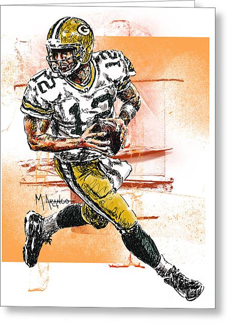 League Greeting Cards - Aaron Rodgers Scrambles Greeting Card by Maria Arango