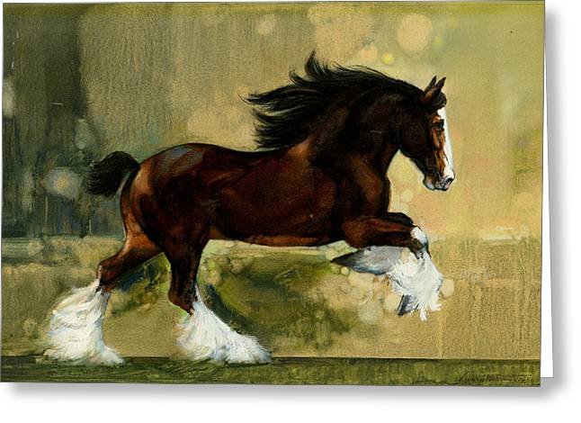 Busch Greeting Cards - Clydesdale Stallion Greeting Card by Don  Langeneckert