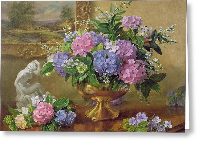 Figurines Greeting Cards - Ab211b Still Life Of Hydrangeas And Lilacs Greeting Card by Albert Williams