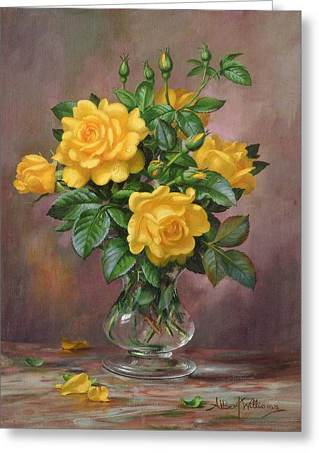 Radiant Yellow Roses Greeting Card by Albert Williams