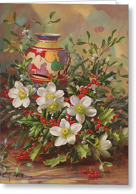Mistletoe Greeting Cards - Ab882 Winter Flowers Greeting Card by Albert Williams