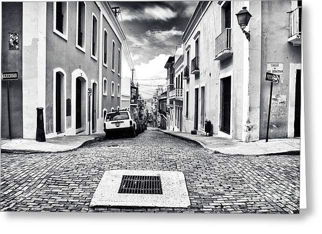 Old San Juan Greeting Cards - Abajo de la Calle Greeting Card by John Rizzuto