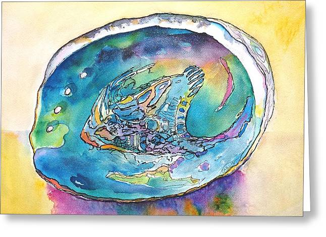 Marine Mollusc Paintings Greeting Cards - Abalone Shell Tropical Color Greeting Card by Carlin Blahnik