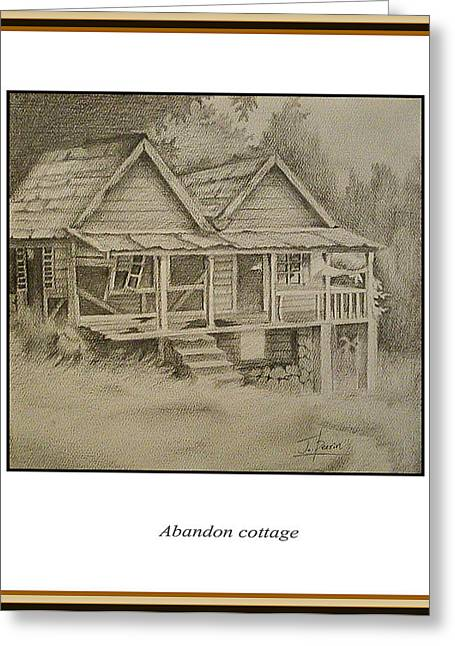 Abandoned Houses Drawings Greeting Cards - Abandon Cottage Greeting Card by Jerome Perrin