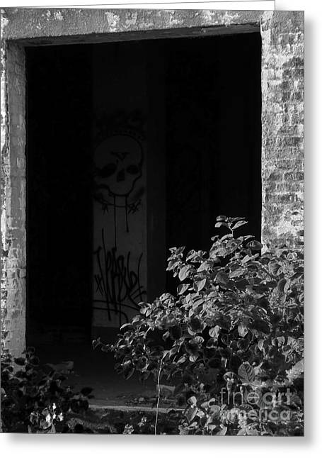 Abandon Hope All Ye Who Enter Here - Bw Greeting Card by James Aiken
