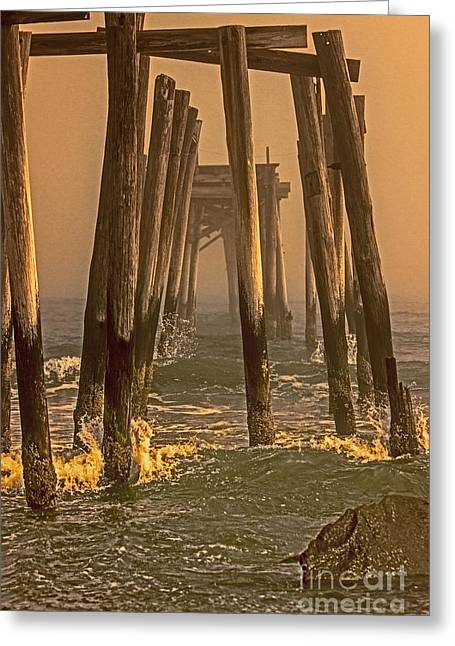 Foggy Beach Greeting Cards - Abandon Pier thru the Fog Greeting Card by Tom Gari Gallery-Three-Photography