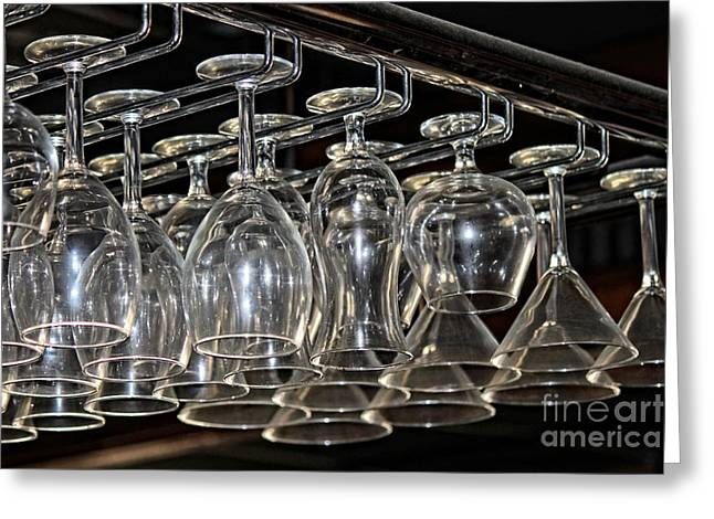 Hanging Wine Glasses Greeting Cards - Abandonded Glasses I Greeting Card by Adrianne Hall