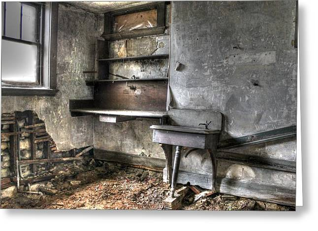 Basement Greeting Cards - Abandonded Kitchen Greeting Card by Jane Linders