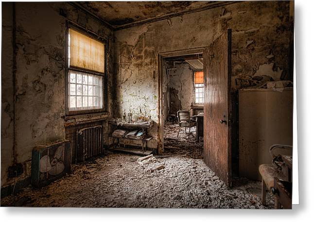 Warm Tones Photographs Greeting Cards - Abandoned Asylum - Haunting Images - What once was Greeting Card by Gary Heller