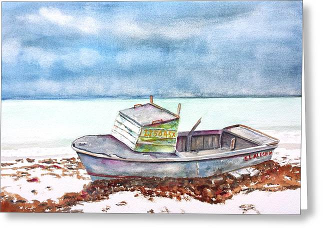 Old Objects Paintings Greeting Cards - Abandoned Beached Wood Boat Greeting Card by Carlin Blahnik