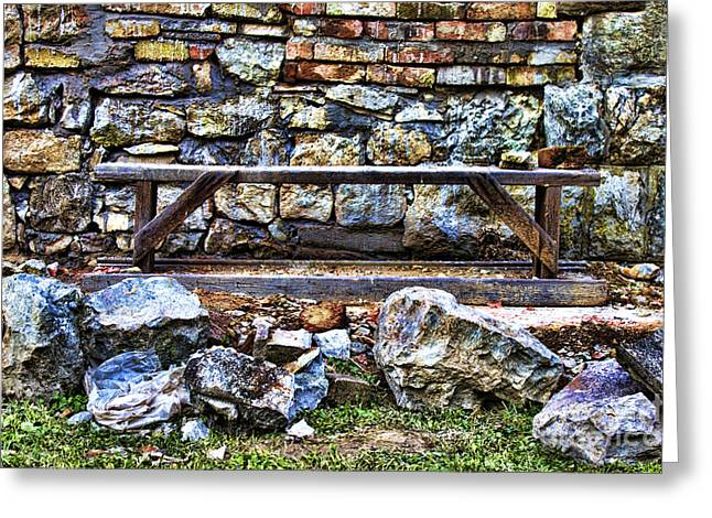 Old Shelfs Greeting Cards - Abandoned Bench Greeting Card by Milan Karadzic