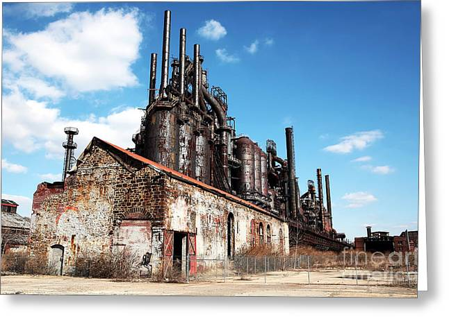 Old School Galleries Greeting Cards - Abandoned Bethlehem Steel Greeting Card by John Rizzuto