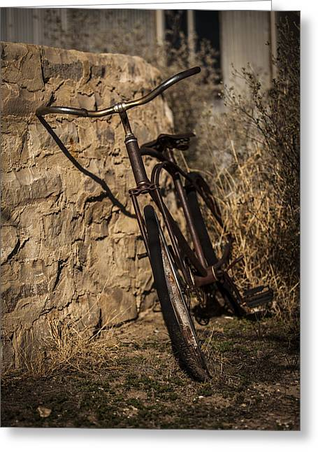 Langtry Greeting Cards - Abandoned Bicycle Greeting Card by Amber Kresge