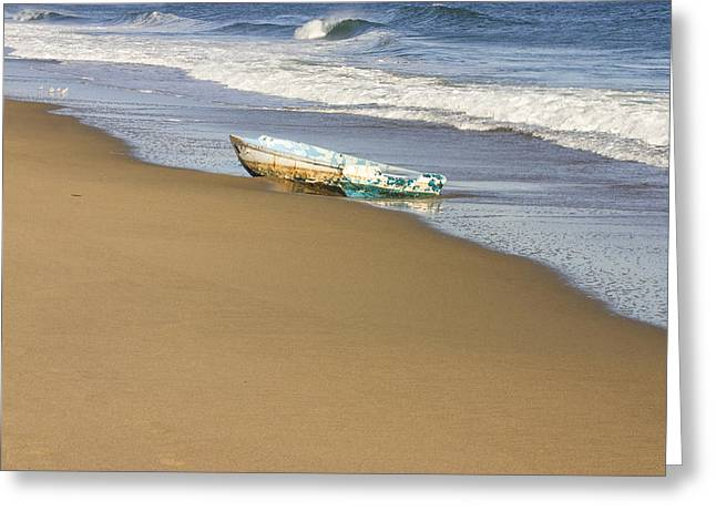 Maine Beach Greeting Cards - Abandoned Boat Ried State Park Beach Maine Greeting Card by Keith Webber Jr