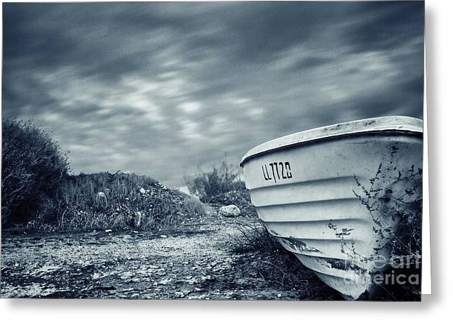 Abandoned Boat Greeting Card by Stelios Kleanthous