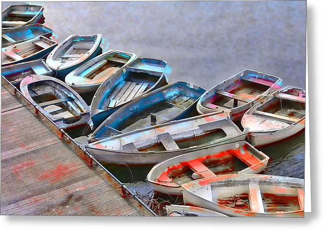Row Boat Greeting Cards - Abandoned Boats Greeting Card by Daniel Hagerman