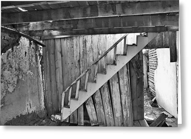 Recently Sold -  - Wooden Stairs Greeting Cards - Abandoned Greeting Card by Brady Lane