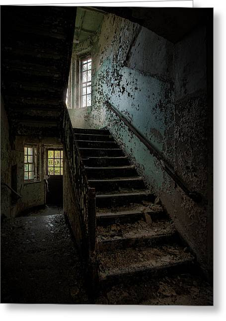 Abandoned Places Greeting Cards - Abandoned Building - Haunting Images - Stairwell in building 138 Greeting Card by Gary Heller