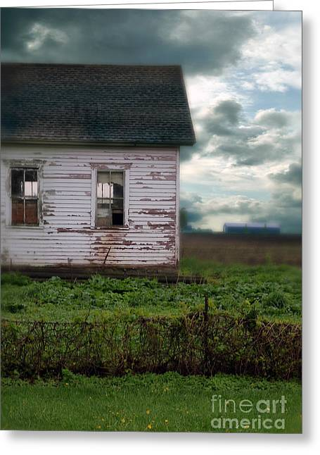 Clapboard House Greeting Cards - Abandoned Building in a Storm Greeting Card by Jill Battaglia