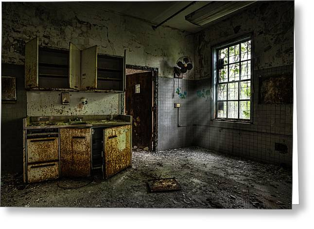 Creepy Greeting Cards - Abandoned building - Old asylum - Open cabinet doors Greeting Card by Gary Heller