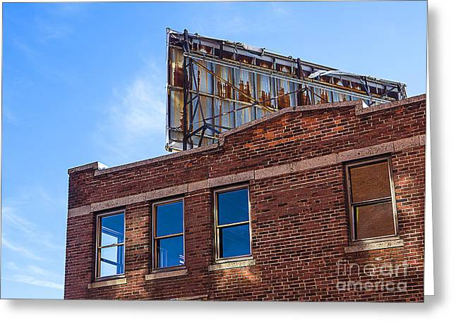 Worcester Greeting Cards - Abandoned Building with Billboard Greeting Card by Diane Diederich