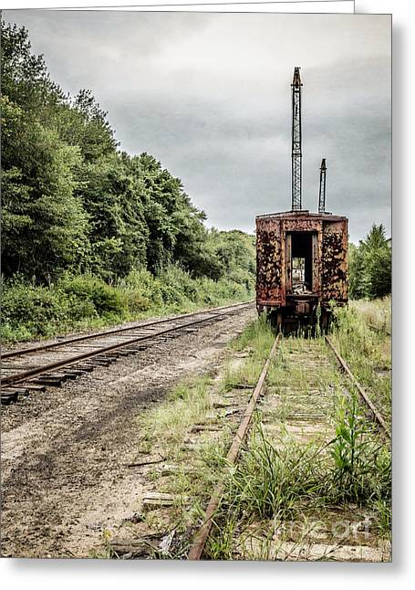 Apocalyptic Greeting Cards - Abandoned burnt out train cars Greeting Card by Edward Fielding