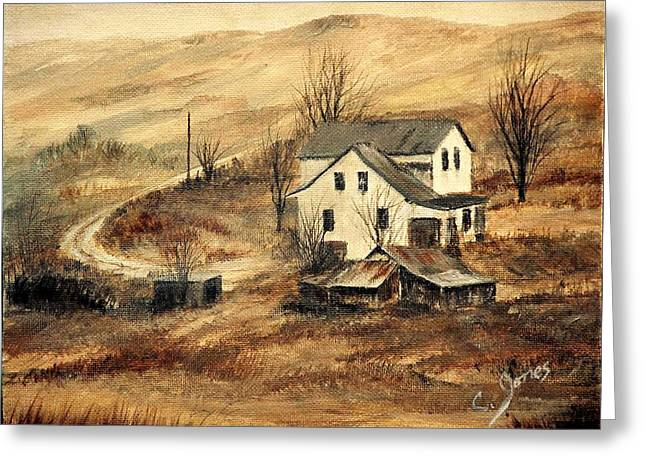 Shed Paintings Greeting Cards - Abandoned Greeting Card by C Keith Jones