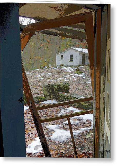 Screen Doors Digital Art Greeting Cards - Abandoned Cabin Elkmont Smoky Mountains - Screened Door Old House Greeting Card by Rebecca Korpita