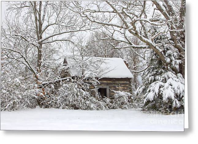 Snow-covered Landscape Greeting Cards - Abandoned Cabin in the Woods Greeting Card by Benanne Stiens