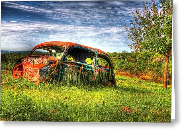Rusted Cars Greeting Cards - Abandoned Car in Field Greeting Card by Roger Passman