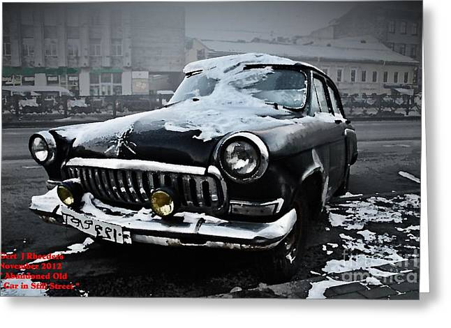 Cellphone Greeting Cards - Abandoned Old Car in Still Street. H a Greeting Card by Gert J Rheeders