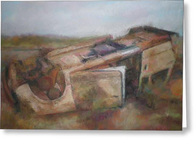 Ruins Pastels Greeting Cards - Abandoned Car  Greeting Card by Paez  ANTONIO