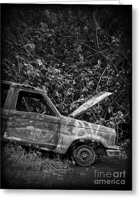 Junker Greeting Cards - Abandoned Car Road to Hana Maui Greeting Card by Edward Fielding